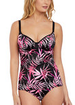 Sunset Palm Underwire Tankini Top Black