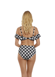 Totally Check Bandeau Bikini Top Monochrome