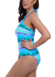 Seascape High Neck Swimsuit Blue Lagoon