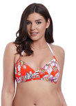 Wild Flower Triangle Bikini Top Flame