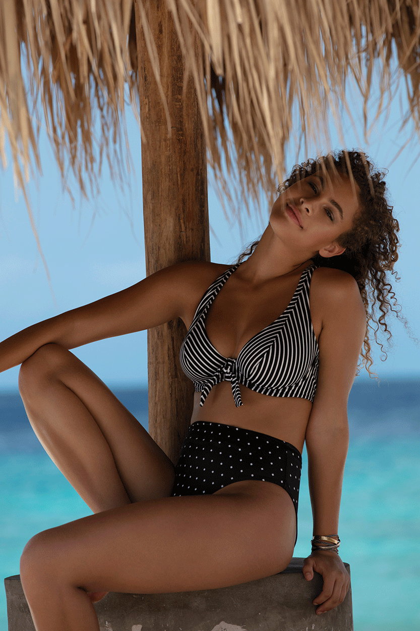 Freya Lingerie, Beach Hut in Black and Jewel Cove in Black